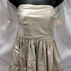 Shoshanna Strapless Dress Metallic Champagne